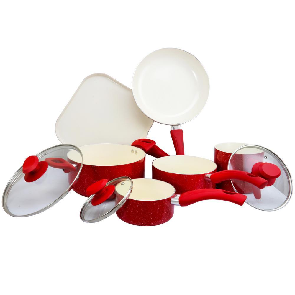 San Jacinto 9-Piece Red Speckled Cookware Set