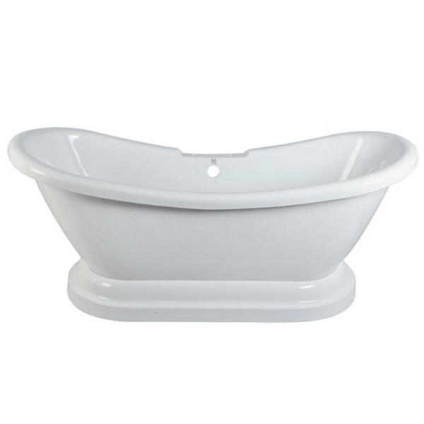 5.8 ft. Acrylic Double Slipper Pedestal Tub with 7 in. Deck Holes in White