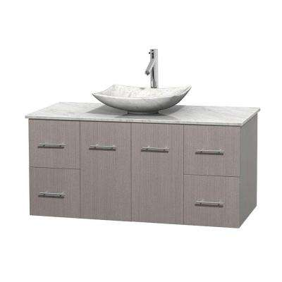 Centra 48 in. Vanity in Gray Oak with Marble Vanity Top in Carrara White and Sink