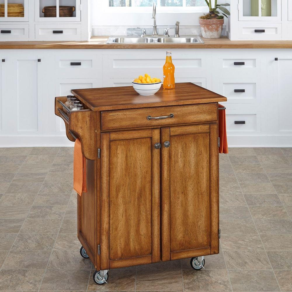 Home Styles Cuisine Cart Warm Oak Kitchen Cart With Towel Bar