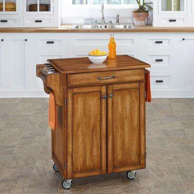 Cuisine Cart Warm Oak Kitchen Cart With Towel Bar