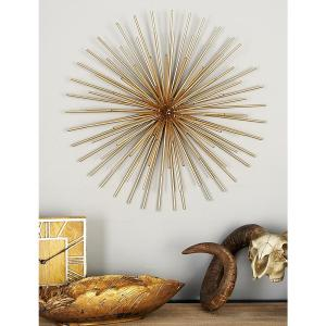 Iron Metallic Gold Round Spiked Wall Decor Set Of 3