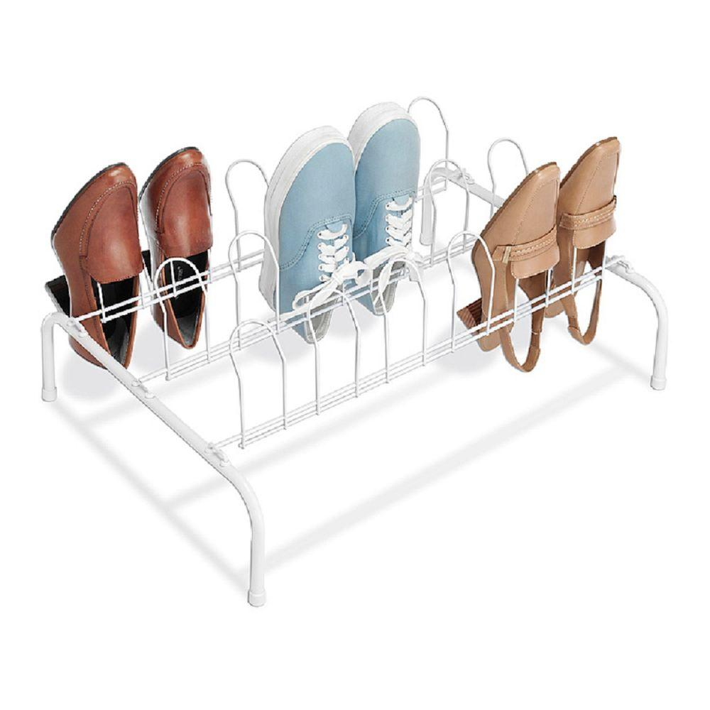 9 Pair White Floor Shoe Organizer