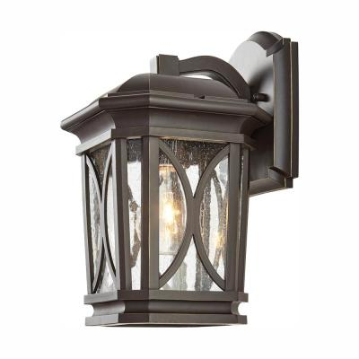 1-Light Bronze with Brass Highlights Outdoor 7 in. Wall Lantern Sconce with Clear Seedy Glass