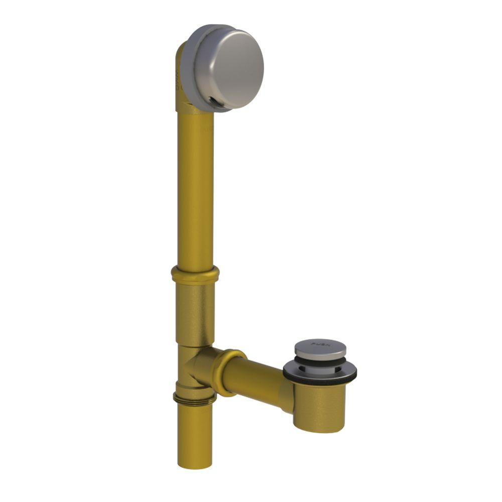 Watco 591 Series 16 in. Tubular Brass Bath Waste with Foot Actuated Bathtub Stopper, Brushed Nickel, Brushed Nickel Finish
