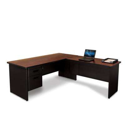 Black and Mahogany Desk with Return