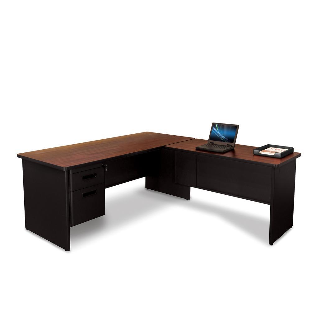 Pronto Black and Mahogany Desk with Return PRNT1BKMA