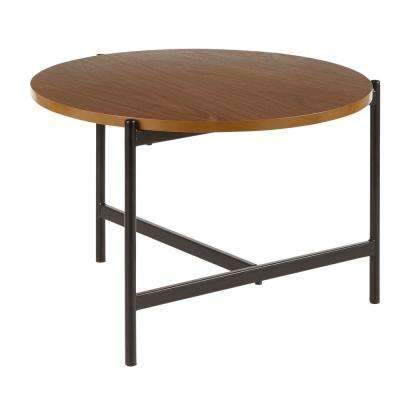 Chloe Contemporary Coffee Table in Black with Walnut Wood Top