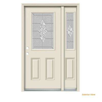 52 in. x 80 in. 1/2 Lite Langford Primed Steel Prehung Right-Hand Inswing Front Door with Right-Hand Sidelite