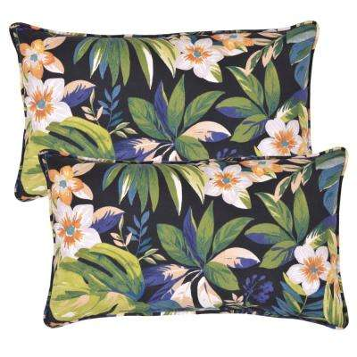 Caprice Tropical Lumbar Outdoor Throw Pillow (2-Pack)