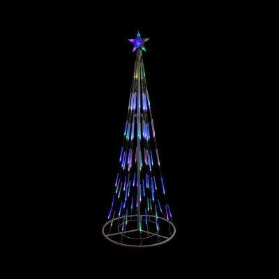 72 in. Christmas White Double Tier Bubble Cone Tree Lighted Yard Art Decoration and Multi-Lights