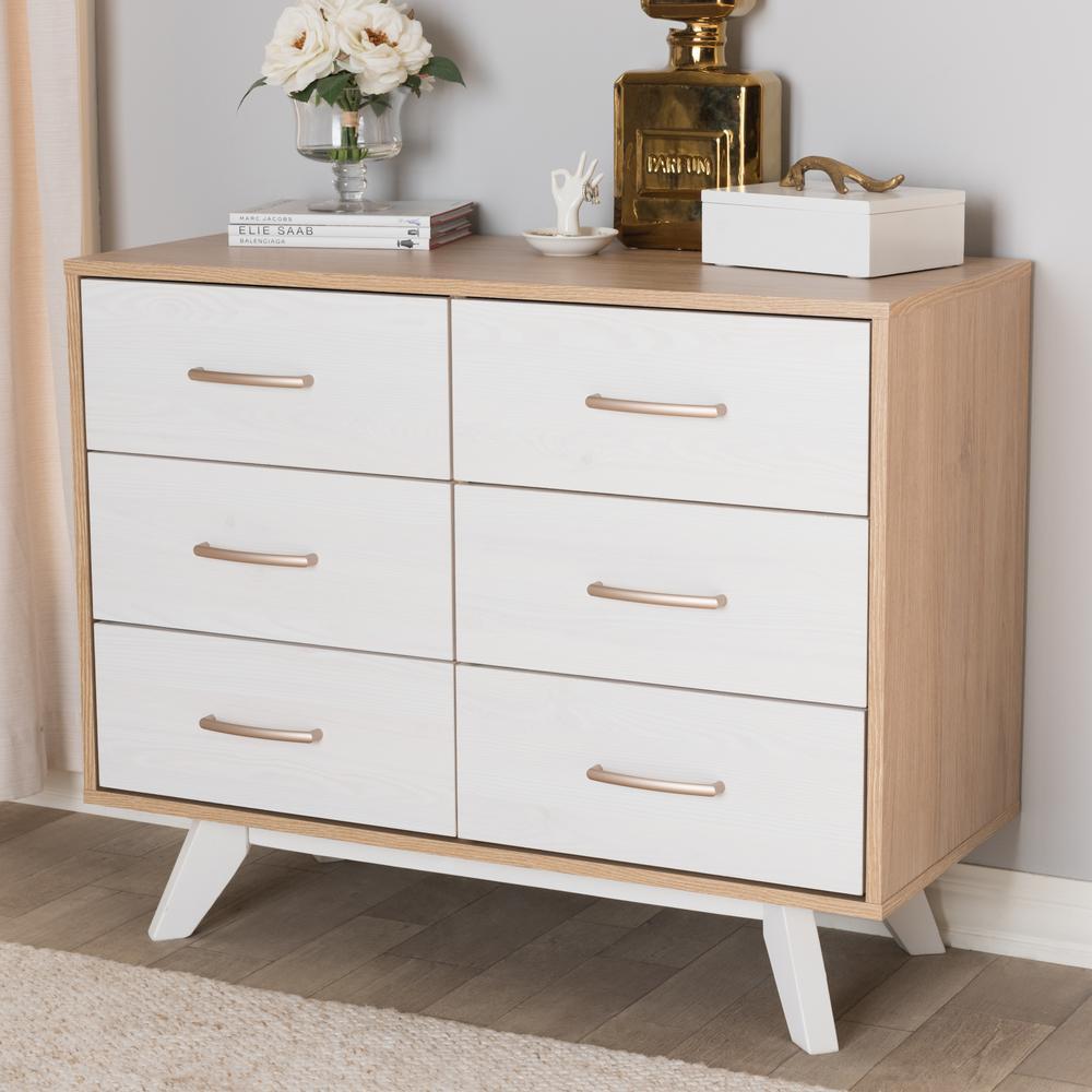 Helena 6-Drawer Natural and Whitewash Dresser