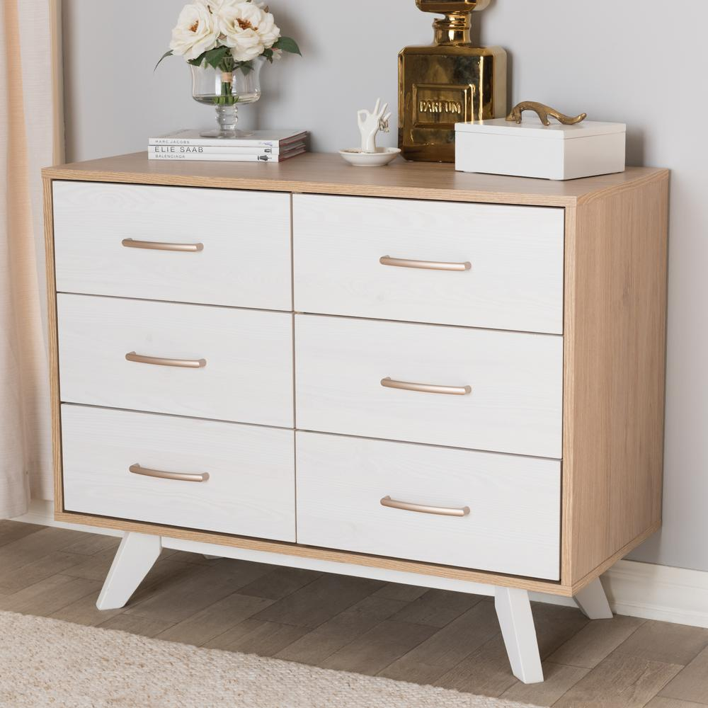 Helena 6-Drawer Natural and Whitewash Dresser
