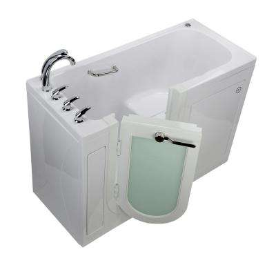 Lounger 60 in. Acrylic Walk-In Air Bath and Micro Bubble Bathtub in White, Fast Fill Faucet, Heated Seat, LH Dual Drain