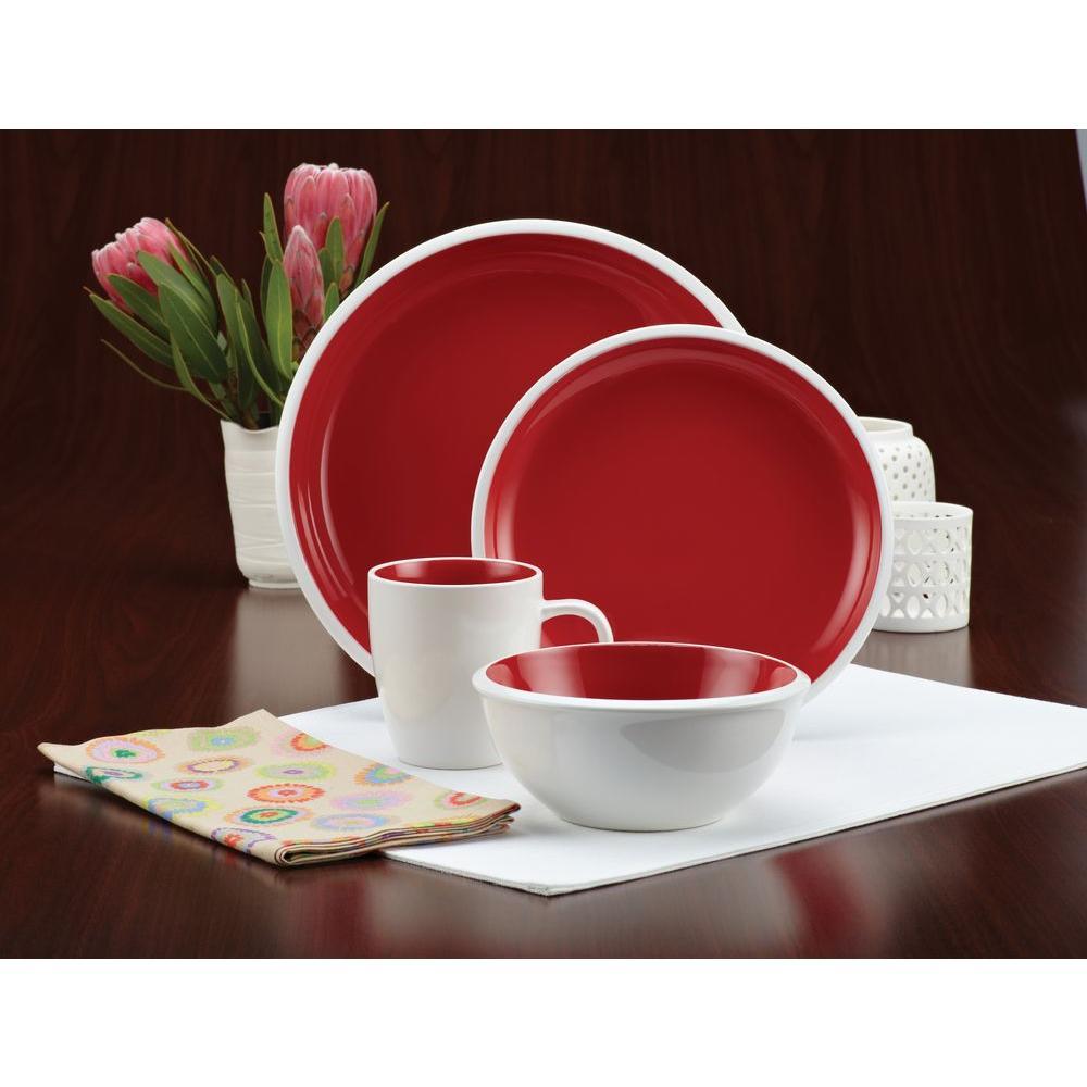 Rachael Ray Rise Stoneware 16-Piece Dinnerware Set in Red
