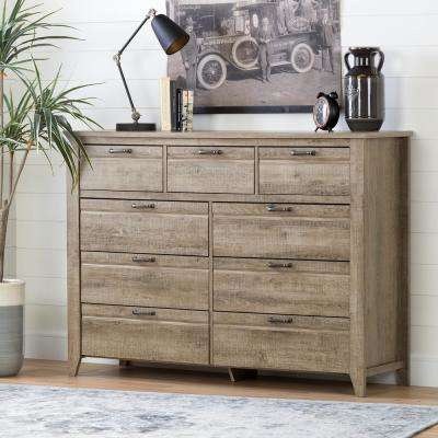 Lionel 9-Drawer Weathered Oak Dresser