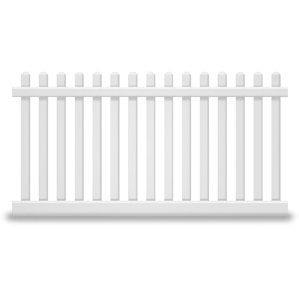Weatherables Plymouth 5 Ft H X 8 Ft W White Vinyl Picket