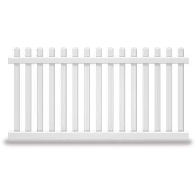 Plymouth 5 ft. H x 8 ft. W White Vinyl Picket Fence Panel