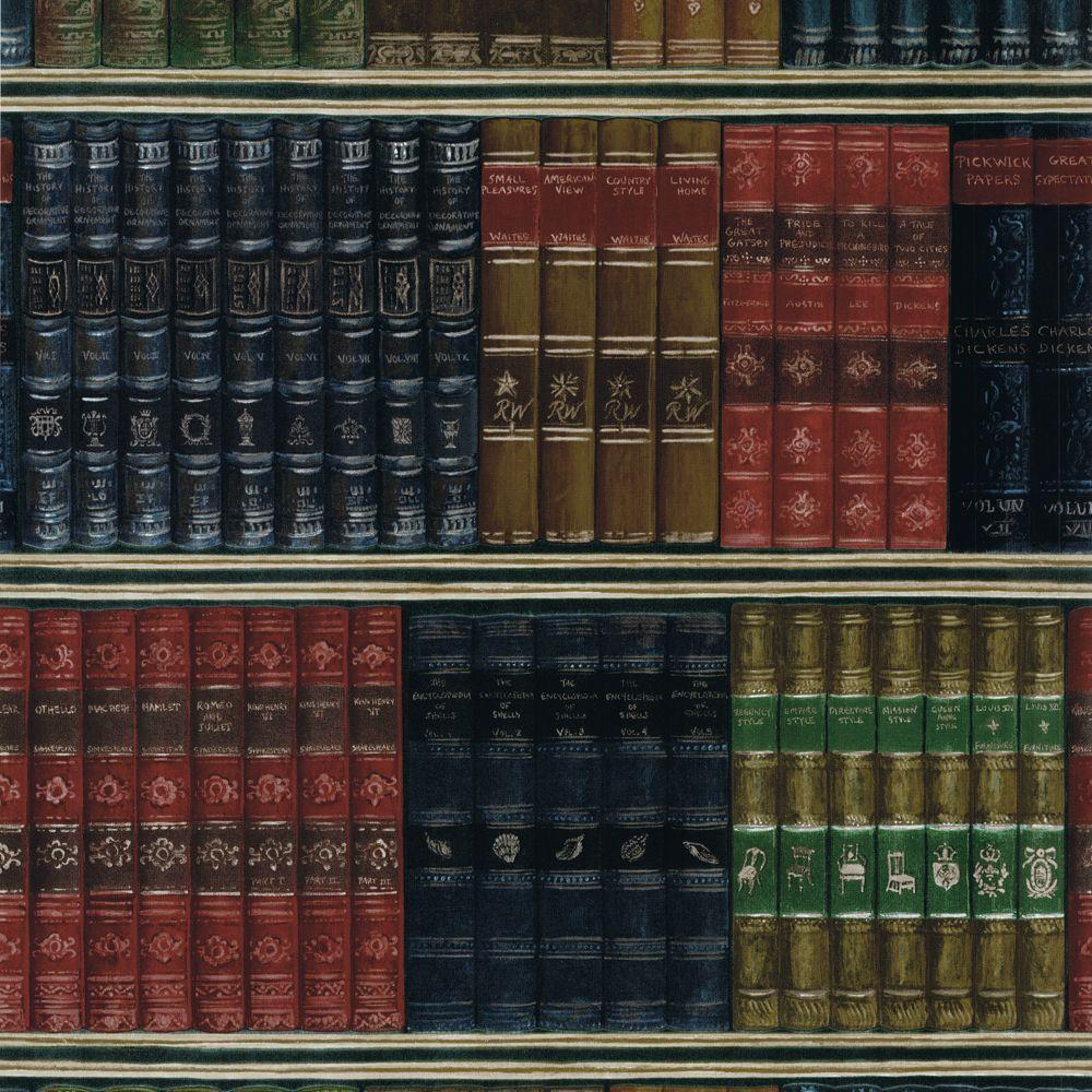 The Wallpaper Company 8 in. x 10 in. Jewel Tone Biblioteca Wallpaper Sample
