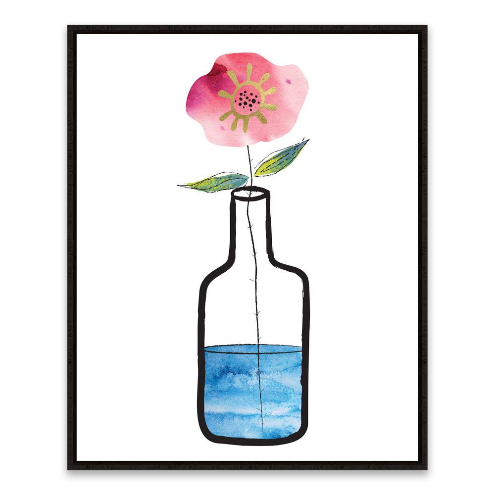 "17 in. x 21 in. ""Flower Jar"" by Nikki Chu Foil Embellished Framed Printed Canvas Wall Art"