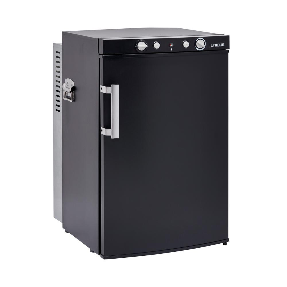 3.4 cu. ft. 3-Way LPG/110-Volt/12-Volt Portable Propane Mini Refrigerator Top Mounted Controls in Black