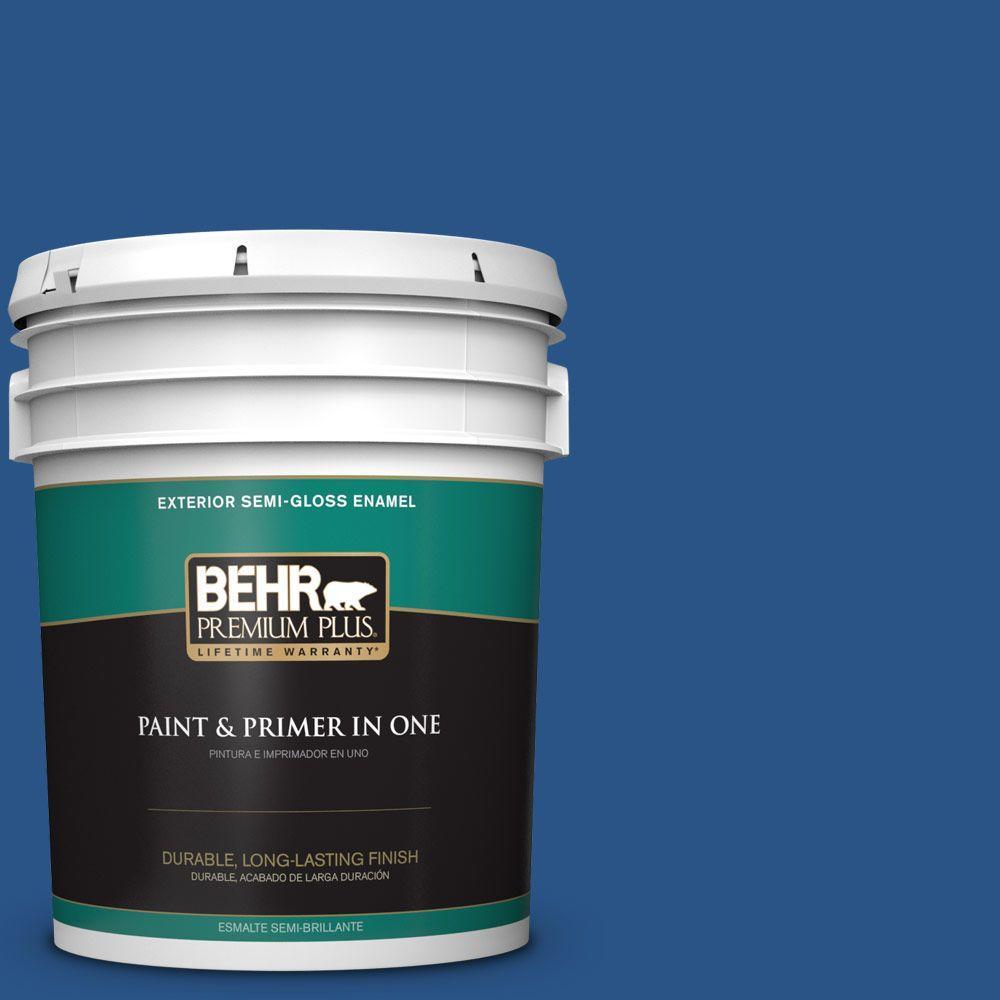 5-gal. #590B-7 Award Blue Semi-Gloss Enamel Exterior Paint