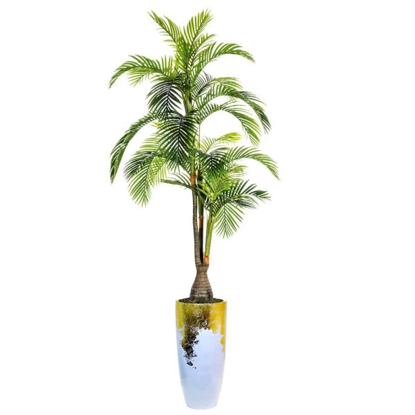 Laura Ashley 107.5 in. Tall Palm Tree, Artificial Indoor/ Outdoor Faux