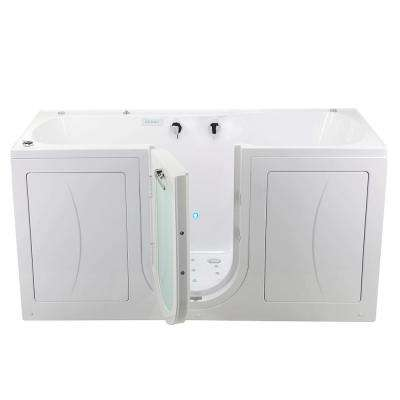 80 in. Big4Two Acrylic Walk-In Whirlpool, Air, MicroBubble, Foot Massage Tub in White, Outward Swing Door, Dual Drain