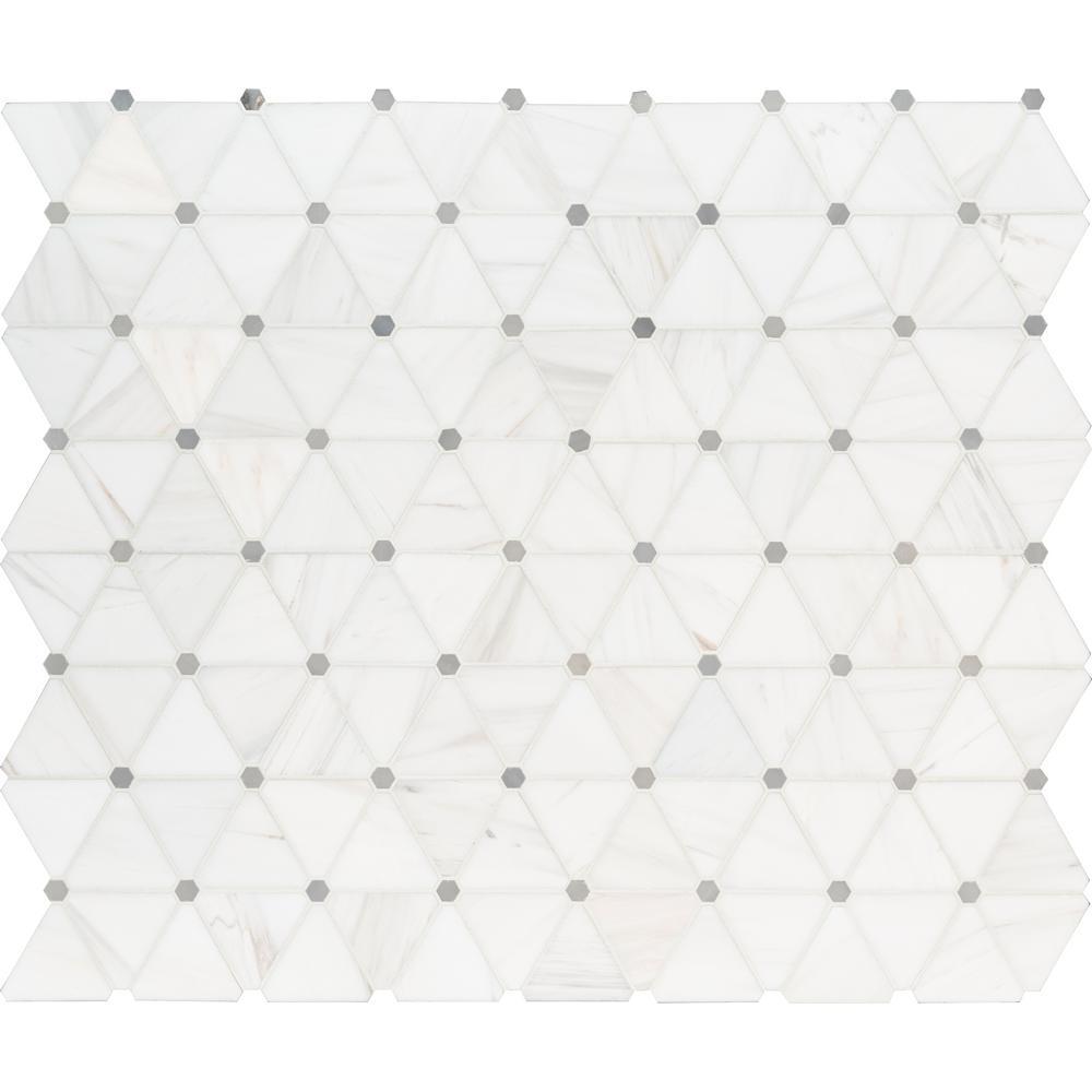 Bianco Dolomite Pinwheel 13.9 in. x 12 in. x 10mm Polished Marble Mesh-Mounted Mosaic Tile (11.6 sq. ft. / case)