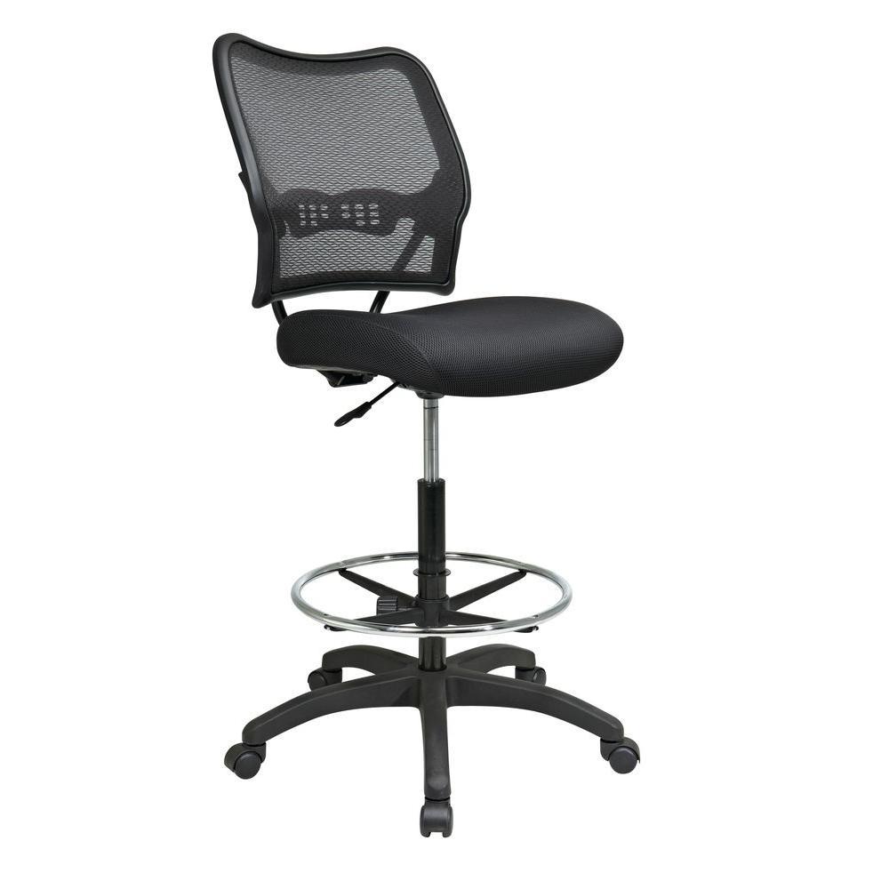 space seating deluxe black airgrid back drafting chair 13 37n20d
