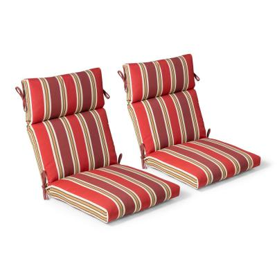 21.5 in. x 44 in. x 4 in. Chili Stripe Outdoor Highback Dining Chair (2 Pack)