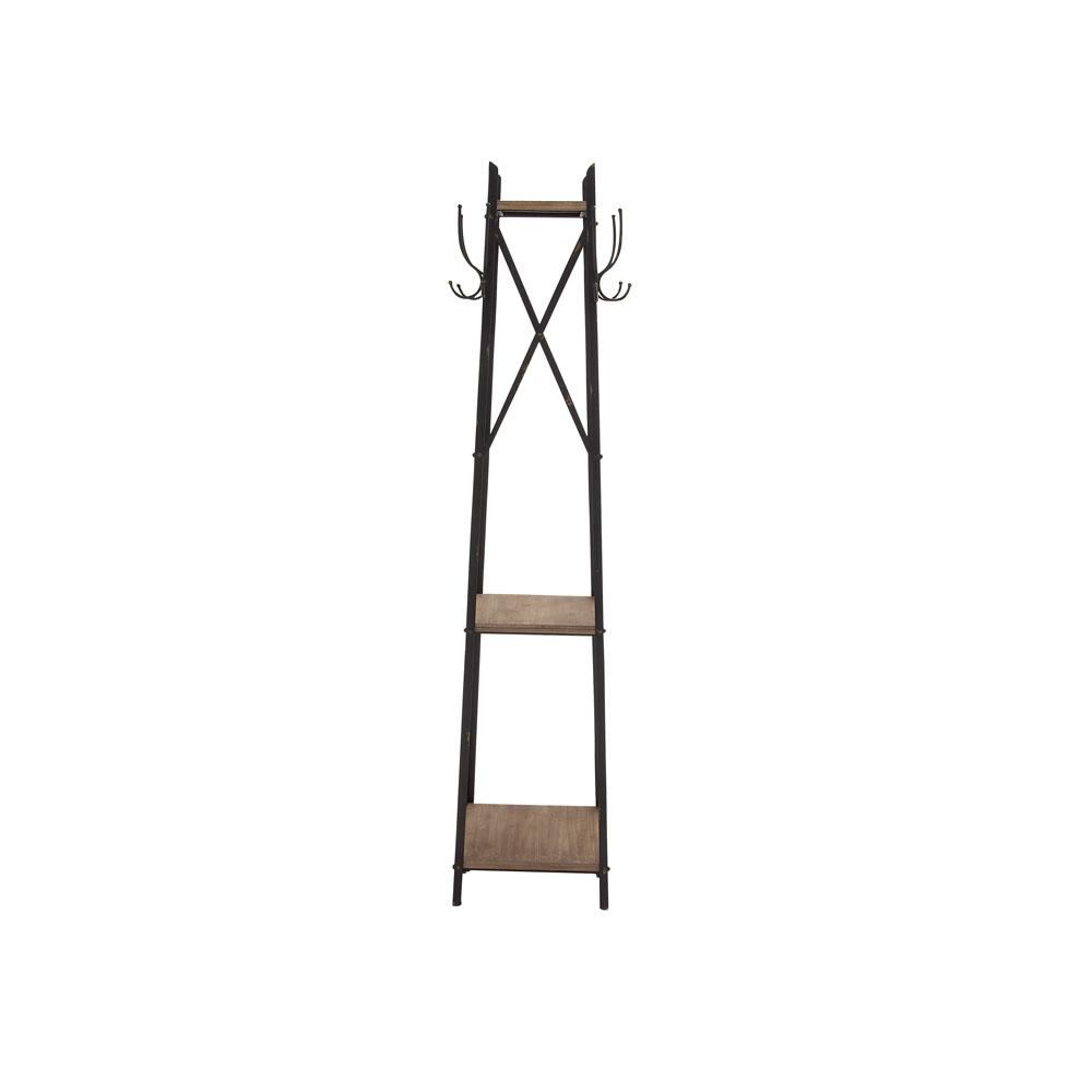 74 in. Classic Modern Metal Coat Rack with Shelves and Hangers