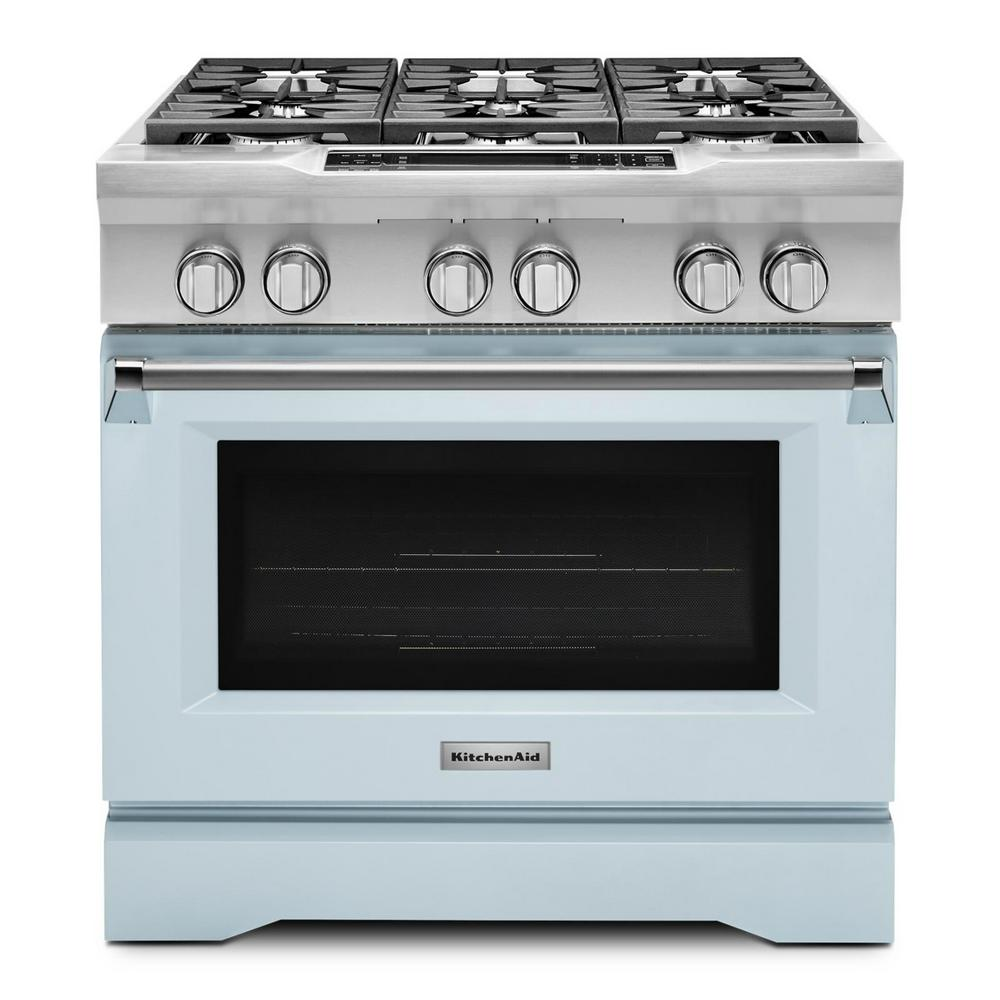 kitchenaid 5 1 cu ft dual fuel range with convection oven in misty rh homedepot com