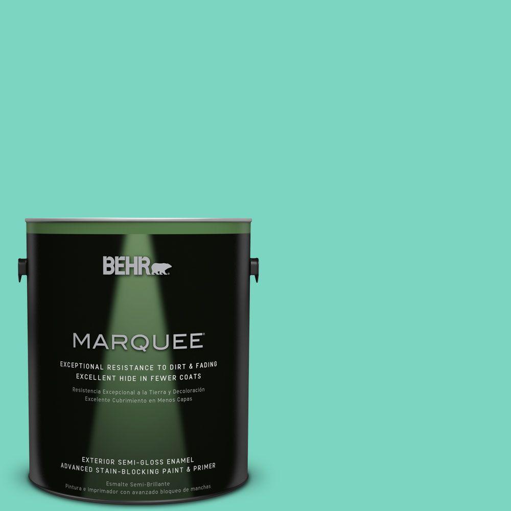 BEHR MARQUEE 1-gal. #P430-3 Green Parakeet Semi-Gloss Enamel Exterior Paint
