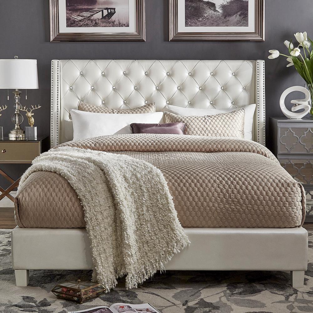 Venus Ivory Metallic King Standard Bed