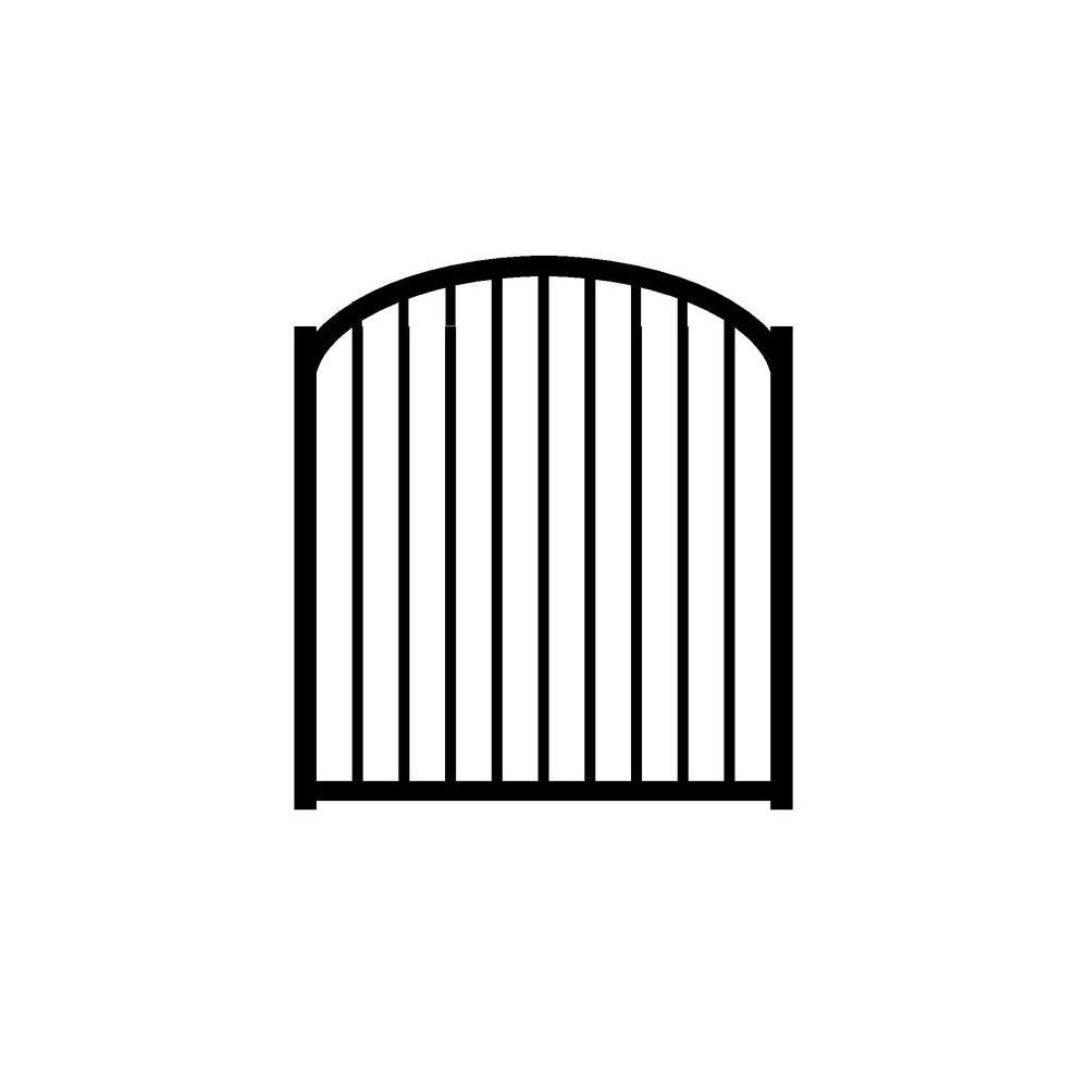 Jerith Ovation 4 ft. W x 4.5 ft. H Black Aluminum 2-Rail Arched Fence Gate
