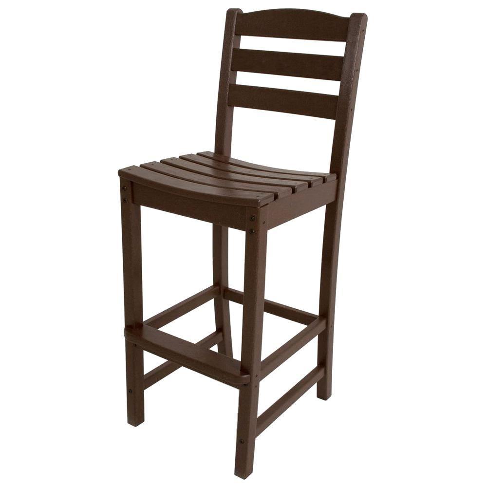 La Casa Cafe Mahogany Plastic Outdoor Patio Bar Side Chair