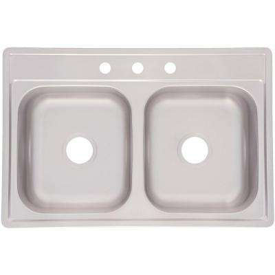 Drop-In Stainless Steel 33.in 3-Hole Double Bowl Kitchen Sink