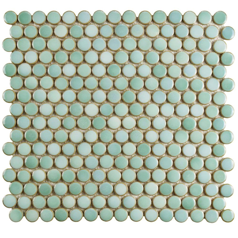 Merola Tile Hudson Penny Round Mint Green 12 In X 5 8