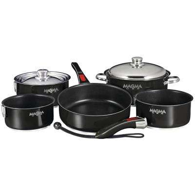 Ceramica Non-Stick 10-Piece Induction Compatible Nesting Cookware Set in Jet Black Finish