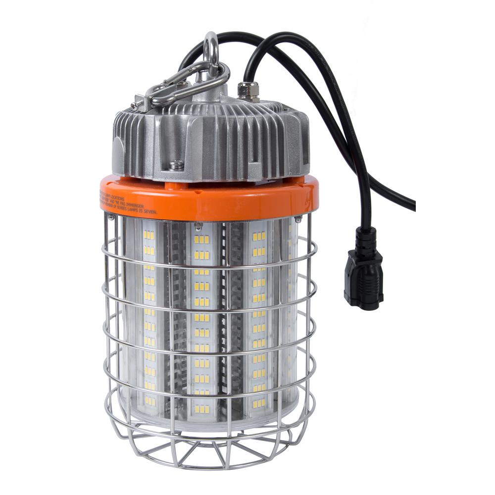 60-Watt LED Luminaire Temporary Plug-In Work Light Fixture, Stainless Steel Cage