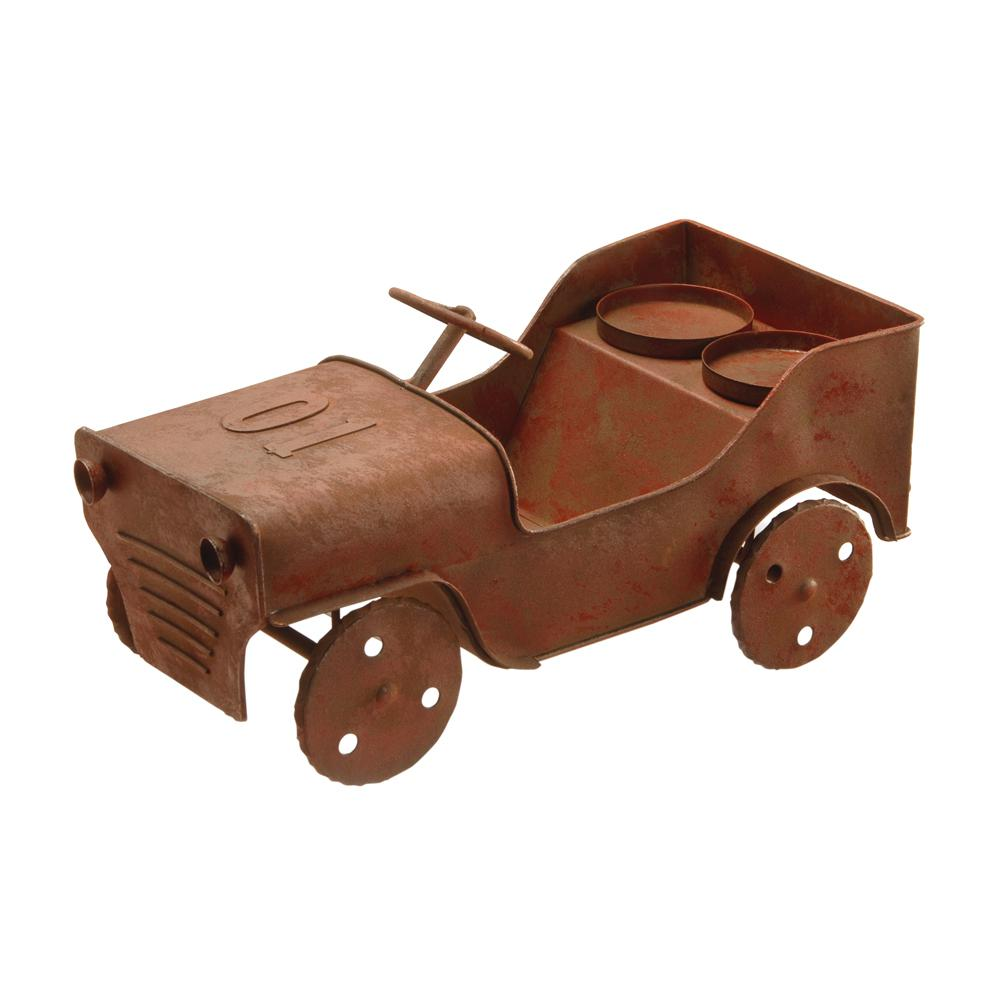 14 in. Metal Car Lawn Ornament and Candleholder
