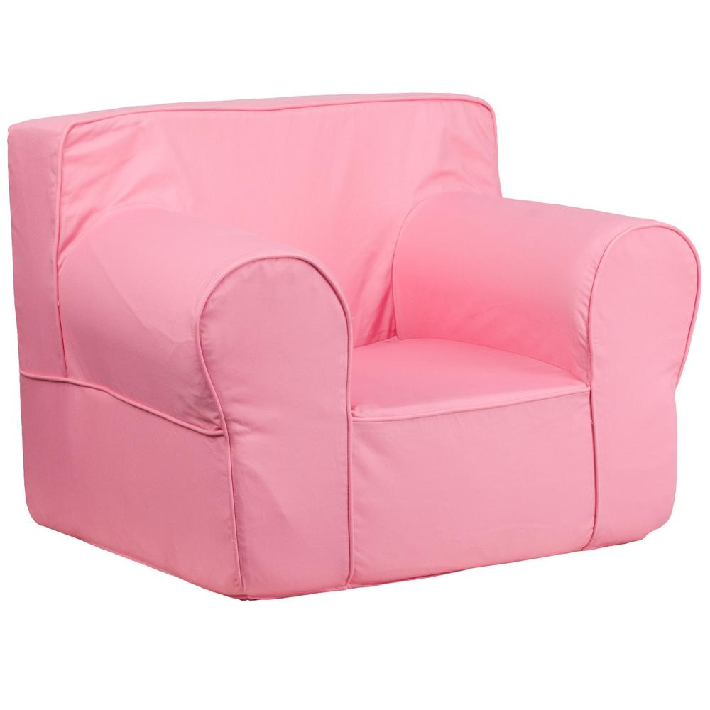 Flash furniture oversized solid light pink kids chair for Pink kids chair