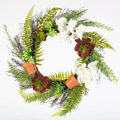 22 in. Spring Orchid and Fern Wreath