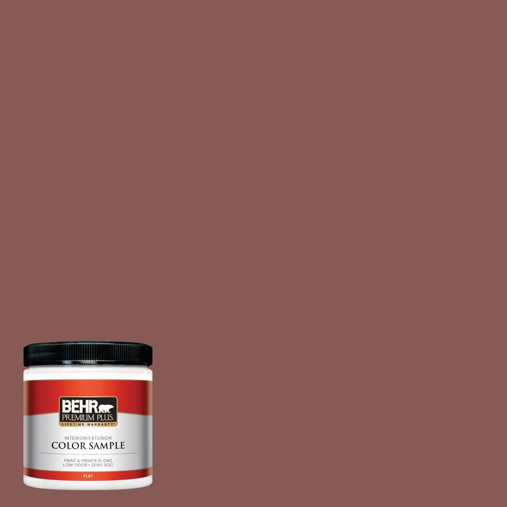 BEHR Premium Plus 8 oz. #PPU1-09 Red Willow Flat Interior/Exterior Paint Sample