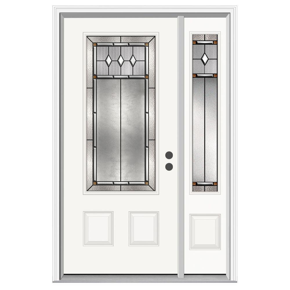 JELD-WEN 50 in. x 80 in. 3/4 Lite Mission Prairie Primed Steel Prehung Left-Hand Inswing Front Door with Right-Hand Sidelite
