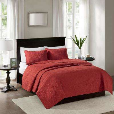 Mansfield 3-Piece Red King/Cal King Reversible Mini Coverlet Set