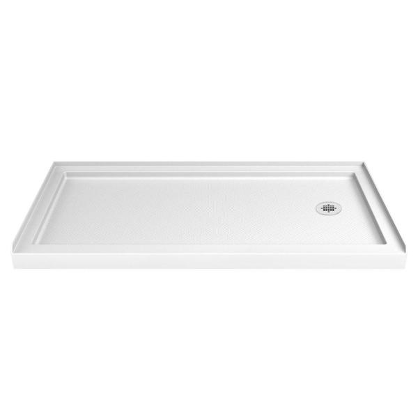 SlimLine 36 in. D x 60 in. W Single Threshold Shower Base in White with Right Hand Drain