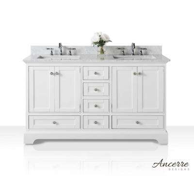Audrey 60 in. W x 22 in. D Vanity in White with Marble Vanity Top in Carrara White with White Basin