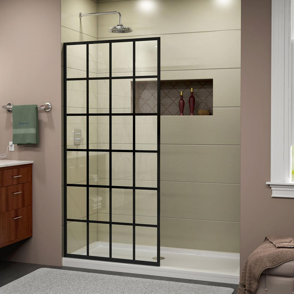 DreamLine French Linea Toulon 34 In. X 72 In. Frameless Fixed Shower Door In Satin Black-SHDR